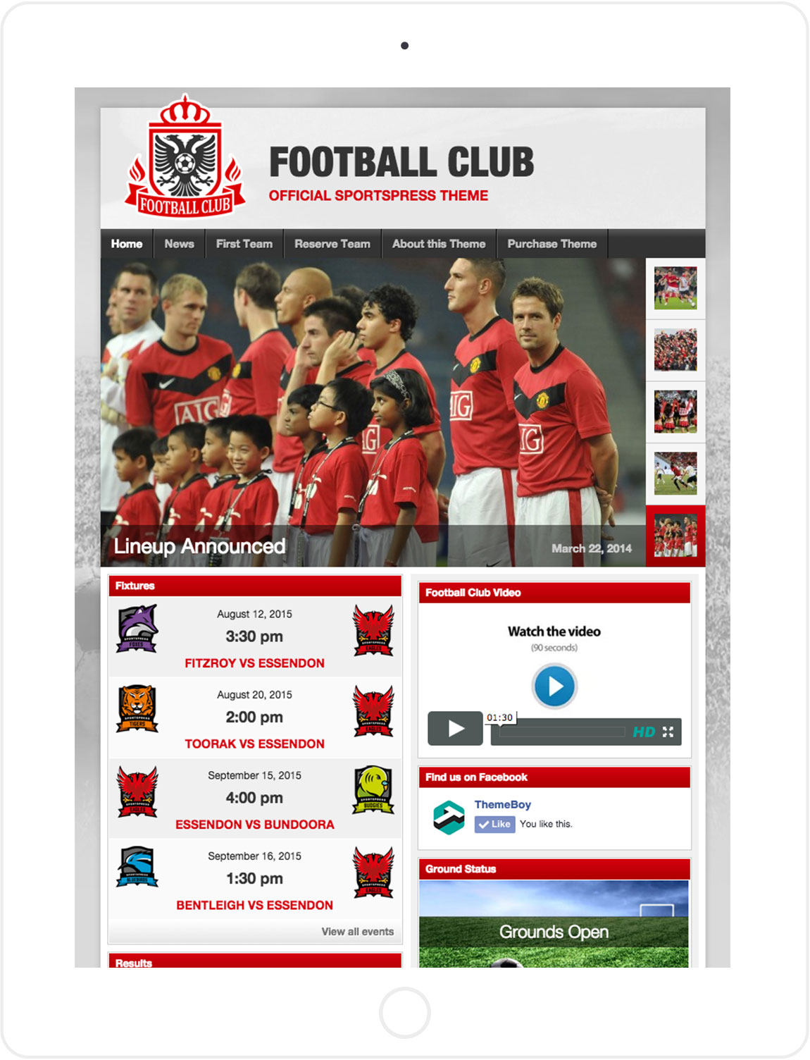 Football Club blog on tablet