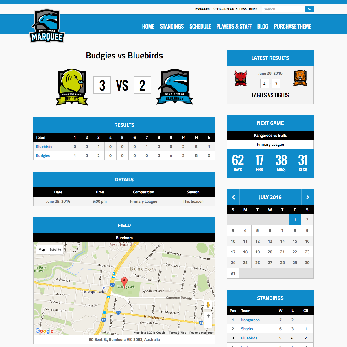 Marquee game page