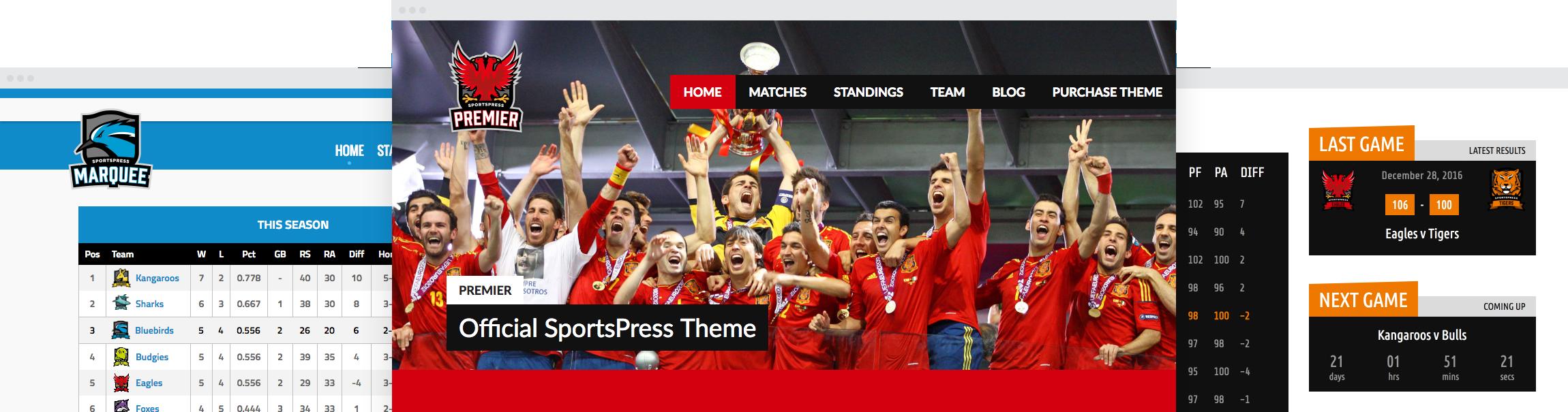 Premium SportsPress Themes by ThemeBoy