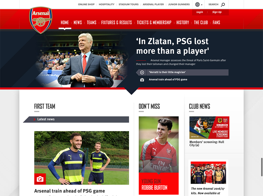 Arsenal UX Example