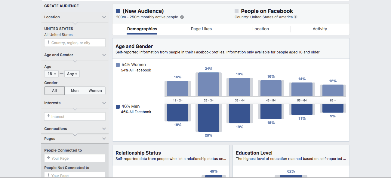 Facebook's Audience Insights page