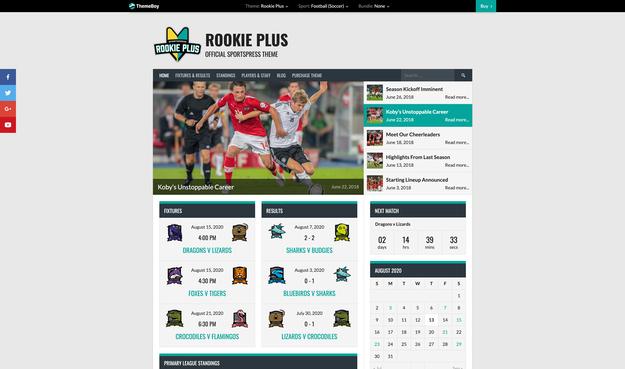 Rookie Plus SportsPress Theme