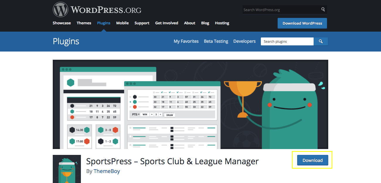 The SportsPress page in the WordPress repository.